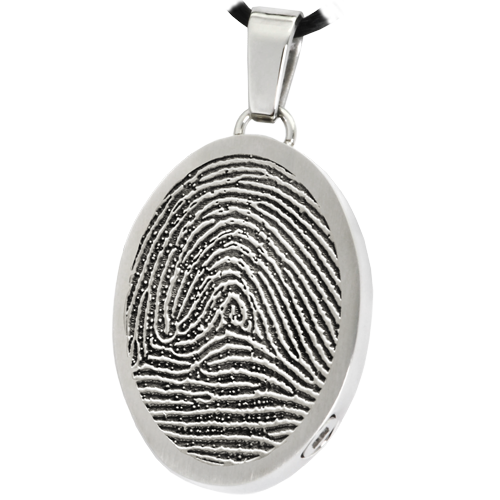 Oval Fingerprint Pendant Cremation Jewelry-Jewelry-New Memorials-Stainless Steel-Rim-Chamber (for ashes)-Afterlife Essentials