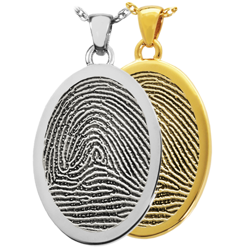 Oval Fingerprint Pendant Cremation Jewelry-Jewelry-New Memorials-Afterlife Essentials