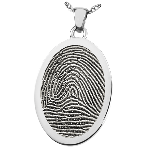Oval Fingerprint Pendant Cremation Jewelry-Jewelry-New Memorials-925 Sterling Silver-Rim-No Chamber (flat)-Afterlife Essentials