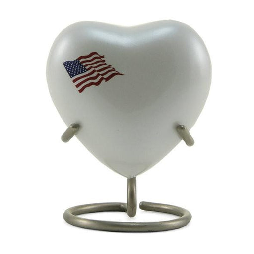Classic Flag Heart Keepsake with velvet box Cremation Urn-Cremation Urns-Terrybear-Afterlife Essentials