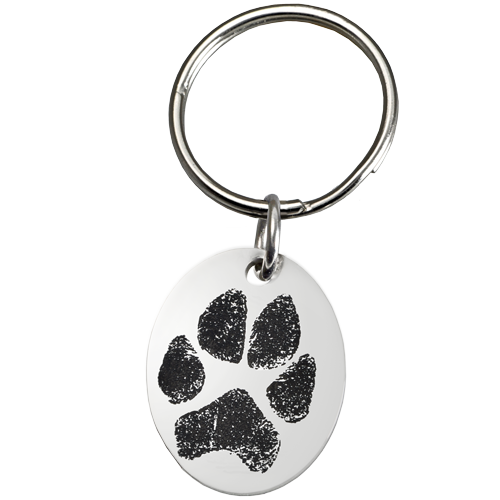 Stainless Steel Oval Tag Paw Print Pet Print Key Ring - Afterlife Essentials