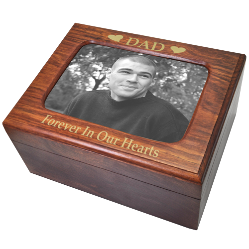 Memory Chest Wood Box Urn With Photo Window 180 cu in Cremation Urn-Cremation Urns-New Memorials-Afterlife Essentials