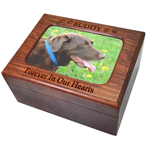 Memory Chest Wood Box With Photo Window Dog Pet 110 cu in Cremation Urn-Cremation Urns-New Memorials-Afterlife Essentials