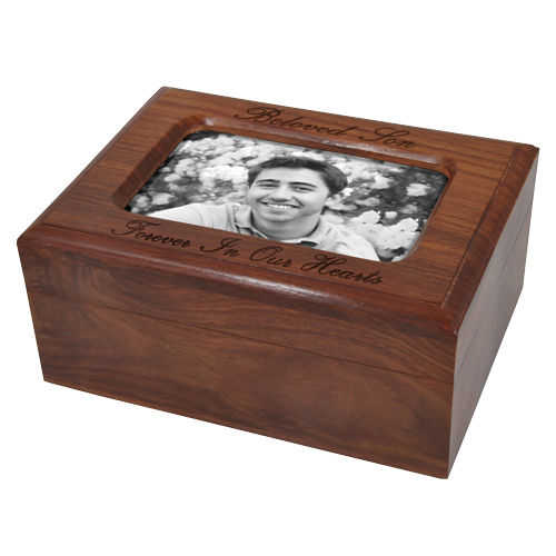 Memory Chest Wooden Box Urn with Photo Window 80 cu in Cremation Urn-Cremation Urns-New Memorials-Afterlife Essentials