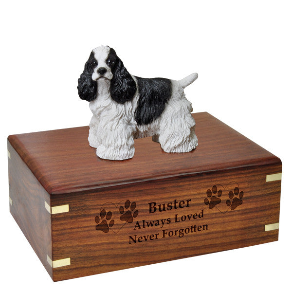 Cocker Spaniel Black and White Pet Wood Cremation Urn-Cremation Urns-New Memorials-Afterlife Essentials