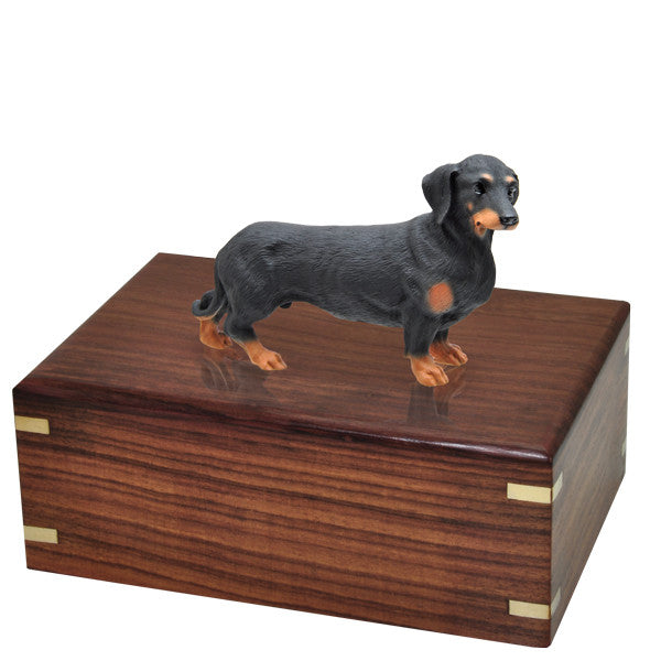 Dachshund Black Pet Wood Cremation Urn-Cremation Urns-New Memorials-Afterlife Essentials