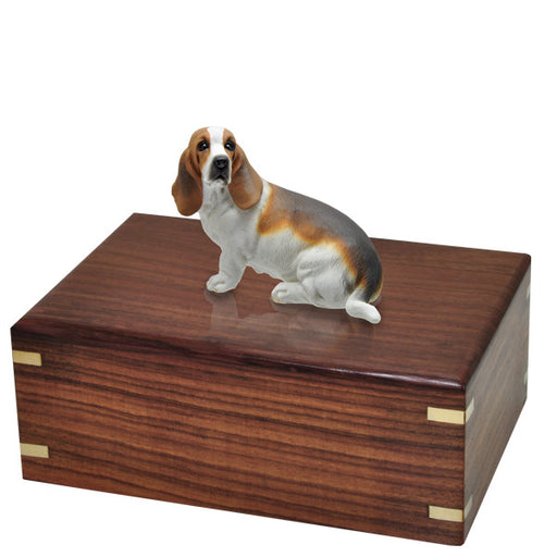 Basset Hound Sitting Pet Wood Cremation Urn-Cremation Urns-New Memorials-Afterlife Essentials