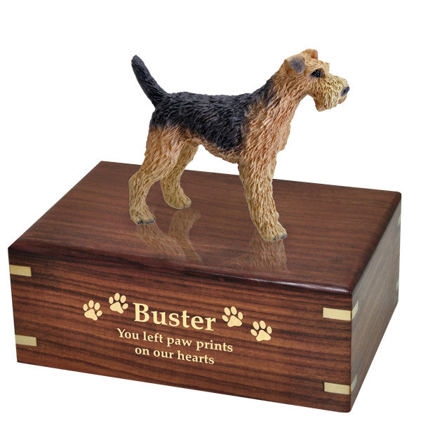 Airedale Pet Cremation Wood Urns - Afterlife Essentials