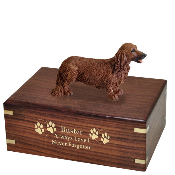 Dachshund Red Longhair Pet Wood Cremation Urn-Cremation Urns-New Memorials-Afterlife Essentials