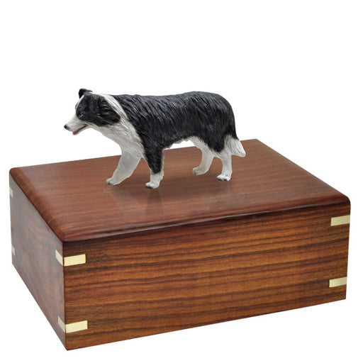 Border Collie Dog Figurine Cremation Wood Urns - Afterlife Essentials