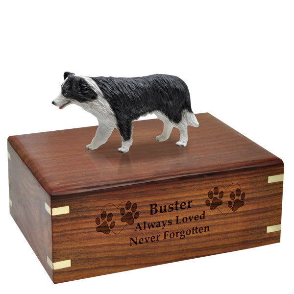 Border Collie Pet Wood Cremation Urn-Cremation Urns-New Memorials-Afterlife Essentials