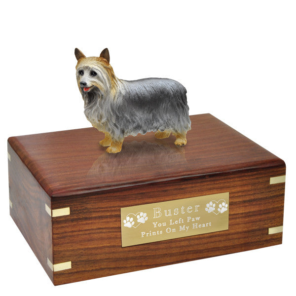 Silky Terrier Silver Pet Cremation Wood Urns - Afterlife Essentials