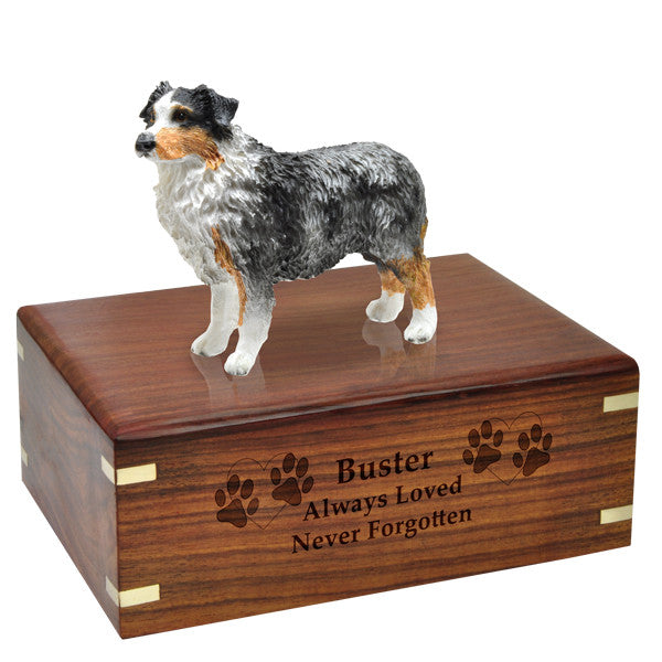 Australian Shepherd Blue Pet Wood Cremation Urn-Cremation Urns-New Memorials-Afterlife Essentials