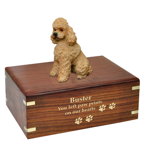Apricot Poodle with Sport Cut Pet Wood Cremation Urn-Cremation Urns-New Memorials-Afterlife Essentials