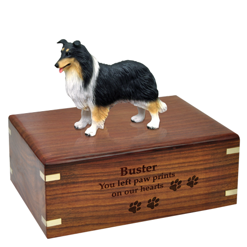 Border Collie Tricolor Pet Wood Cremation Urn-Cremation Urns-New Memorials-Afterlife Essentials