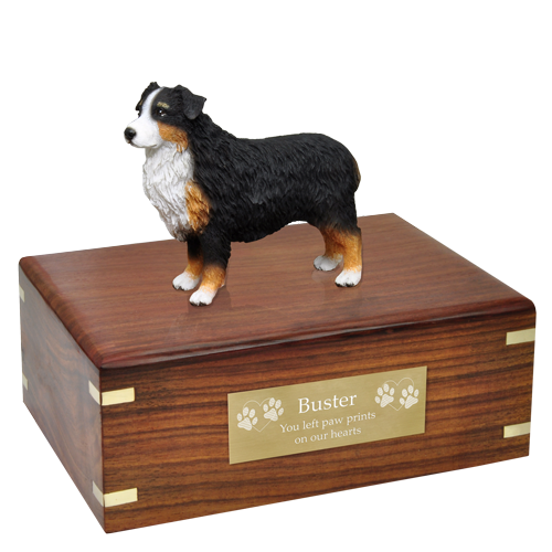 Australian Shepherd Tricolor Pet Wood Cremation Urn-Cremation Urns-New Memorials-Afterlife Essentials