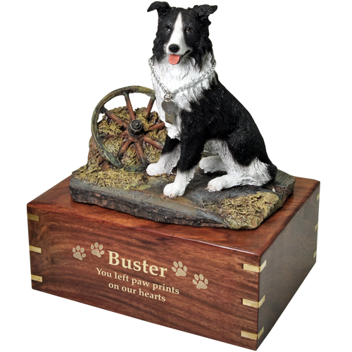 Border Collie Sitting Pet Wood Cremation Urn-Cremation Urns-New Memorials-Afterlife Essentials