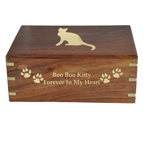 Perfect Simple Wood Box Cat Pet 87 cu in Cremation Urn-Cremation Urns-New Memorials-Afterlife Essentials