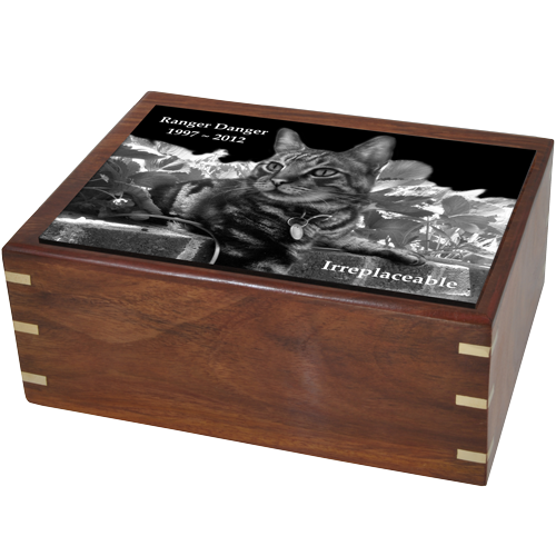 Perfect Simple Wood Box Photo Tile Cat Pet 87 cu in Cremation Urn-Cremation Urns-New Memorials-Afterlife Essentials