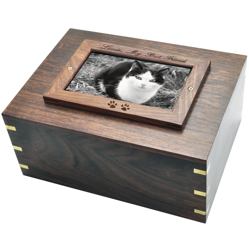 Perfect Wood Box Photo Frame Cat Pet 185 cu in Cremation Urn-Cremation Urns-New Memorials-Afterlife Essentials