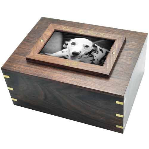 Perfect Wood Box Photo Frame Dog Pet Large 185 cu in Cremation Urn-Cremation Urns-New Memorials-Afterlife Essentials
