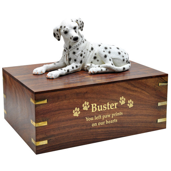 Dalmatian Laying Dog Pet Wood Cremation Urn-Cremation Urns-New Memorials-Afterlife Essentials