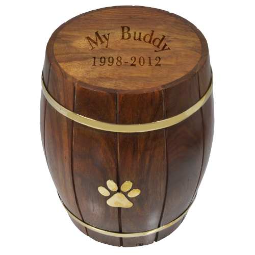 Pawprint Wood Barrel Pet 73 cu in Cremation Urn-Cremation Urns-New Memorials-Afterlife Essentials