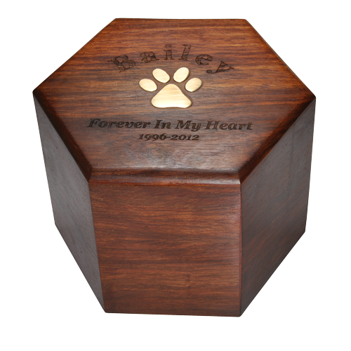 Pawprint Wood Hexagon Pet 50 cu in Cremation Urn-Cremation Urns-New Memorials-Afterlife Essentials