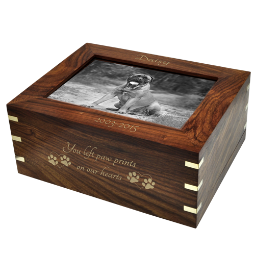 Perfect Framed Photo Wood Dog Pet 160 cu in Cremation Urn-Cremation Urns-New Memorials-Afterlife Essentials