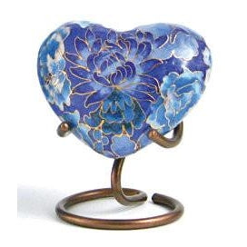 Elite Floral Blue Heart Keepsake with velvet box Cremation Urn-Cremation Urns-Terrybear-Afterlife Essentials