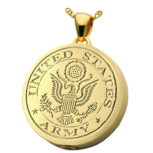 Round Military Pendant Cremation Jewelry-Jewelry-New Memorials-Afterlife Essentials