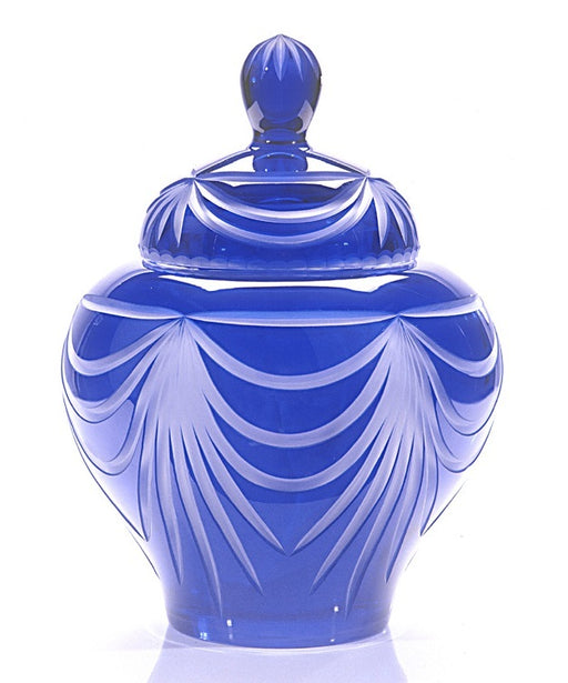 "24% Lead Cobalt Blue Crystal ""Majestic Angel"" Small 60 cu in Cremation Urn-Cremation Urns-Bogati-Afterlife Essentials"