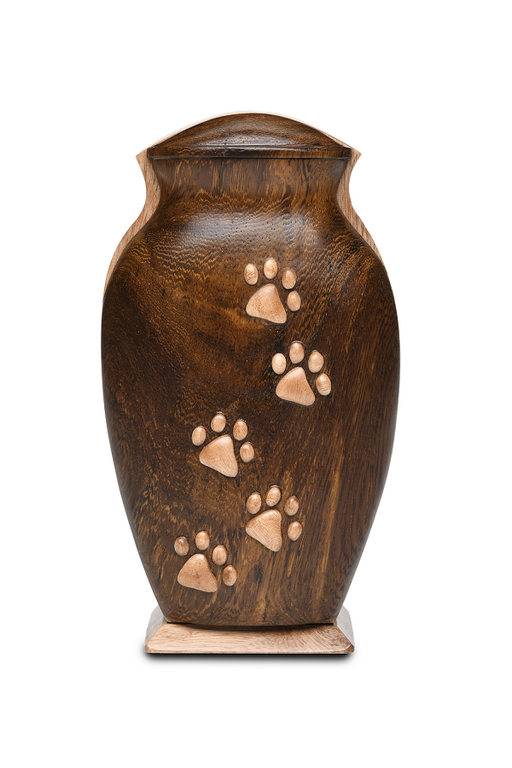 Black Walnut and Beech Woods Pet Urn with Five Paws 40cu-Cremation Urns-Bogati-Afterlife Essentials