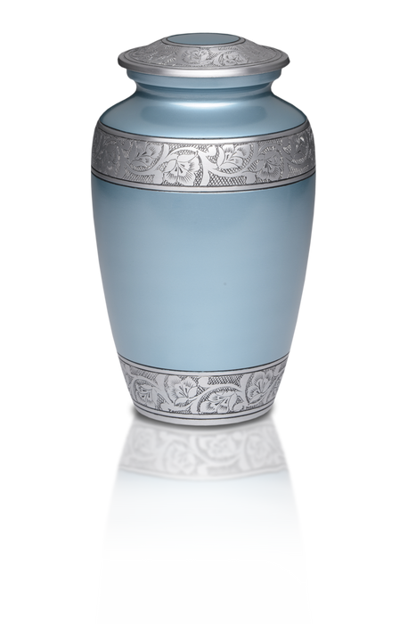 Alloy Blue Flower Band Adult 200 cu in Cremation Urn-Cremation Urns-Bogati-Afterlife Essentials