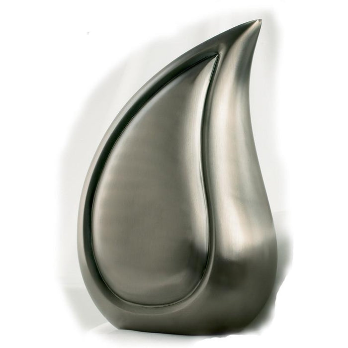 "810/10"" Teardrop Brushed Pewter Cremation Urn-Cremation Urns-Urns of Distinction-Afterlife Essentials"