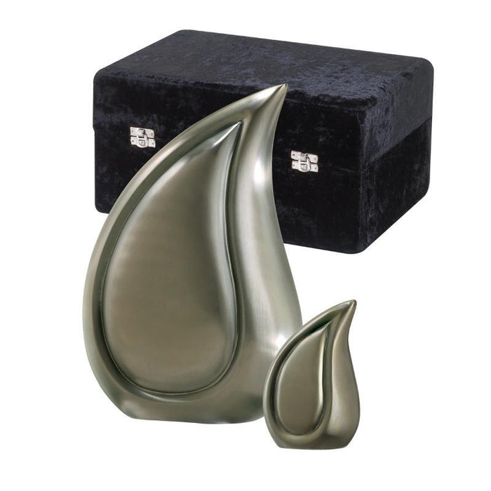 "810/3"" Teardrop Brushed Pewter Keepsake Cremation Urn-Cremation Urns-Urns of Distinction-Afterlife Essentials"