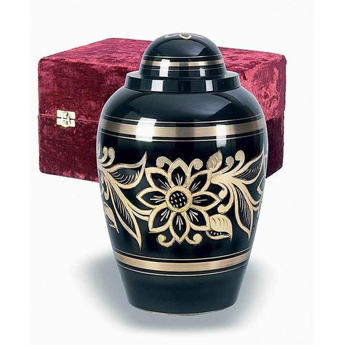 306 Ebony Bouquet Solid Brass Cremation Urn-Cremation Urns-Urns of Distinction-Afterlife Essentials