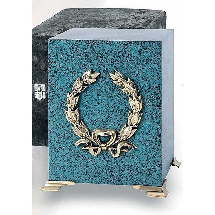 715 Patina Cube Brass Wreath Cremation Urn-Cremation Urns-Urns of Distinction-Afterlife Essentials