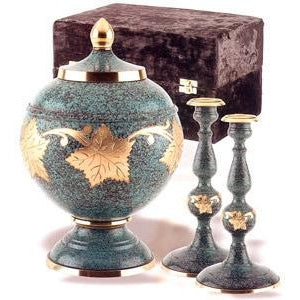 205 Patina Leaf Cremation Urn Set-Cremation Urns-Urns of Distinction-Afterlife Essentials