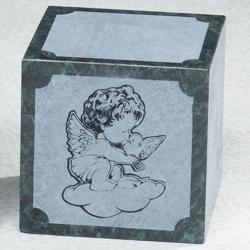 Angel Abc Block Natural Green Marble Small 20 cu in Cremation Urn-Cremation Urns-Infinity Urns-Afterlife Essentials