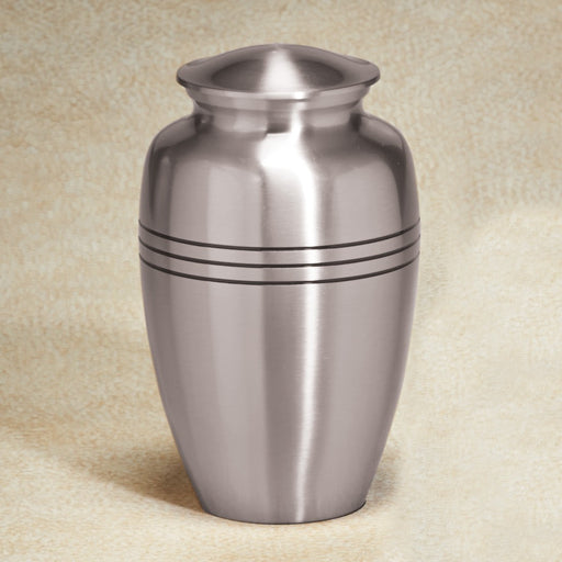 Aegean Series Silver-Tone 133 cu in Cremation Urn-Cremation Urns-Infinity Urns-Afterlife Essentials