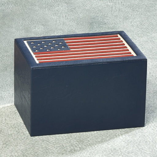 American Flag Simulated Leather 200 cu in Cremation Urn-Cremation Urns-Infinity Urns-Afterlife Essentials