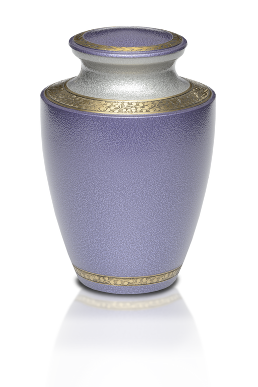 Brass in Lilac with Brass Band Adult 200 cu in Cremation Urn-Cremation Urns-Bogati-Afterlife Essentials