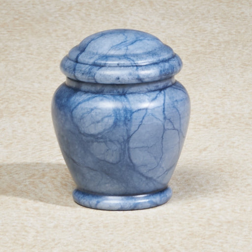 Blue Waters Alabaster Stone Mini 6 cu in Cremation Urn Keepsake-Cremation Urns-Infinity Urns-Afterlife Essentials