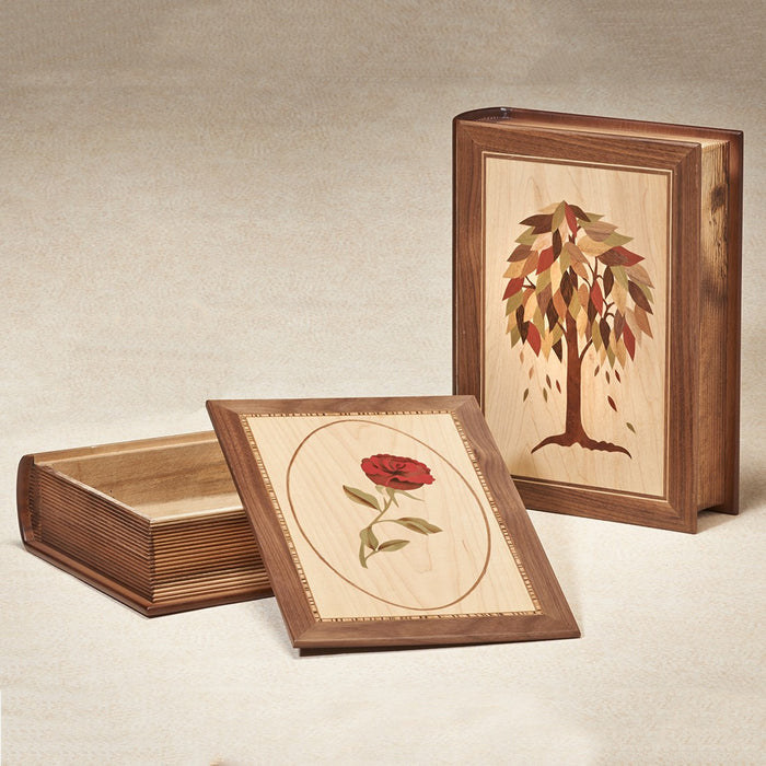 Marquetry Book Series Tree Hardwood 200 cu in Cremation Urn-Cremation Urns-Infinity Urns-Afterlife Essentials