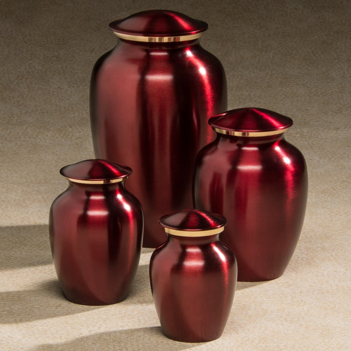 Classic Brass Series Crimson 85 cu in Cremation Urn-Cremation Urns-Infinity Urns-Afterlife Essentials
