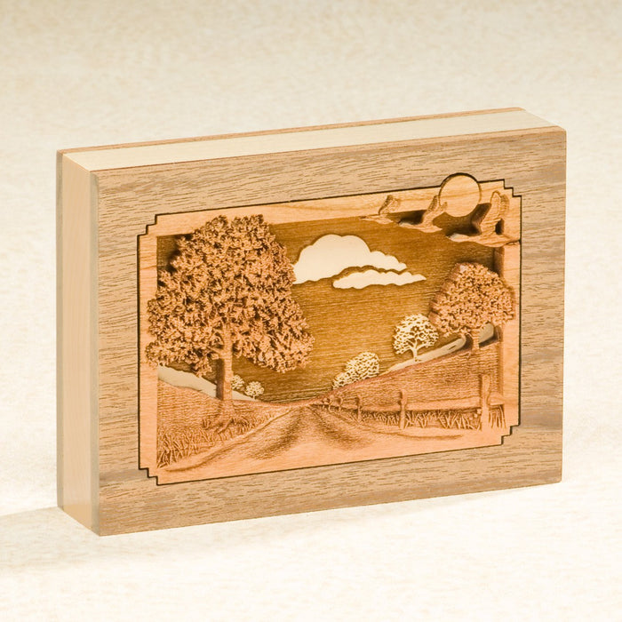 Country Lane Solid Oak Wood Mini 1 cu in Cremation Urn Keepsake-Cremation Urns-Infinity Urns-Afterlife Essentials