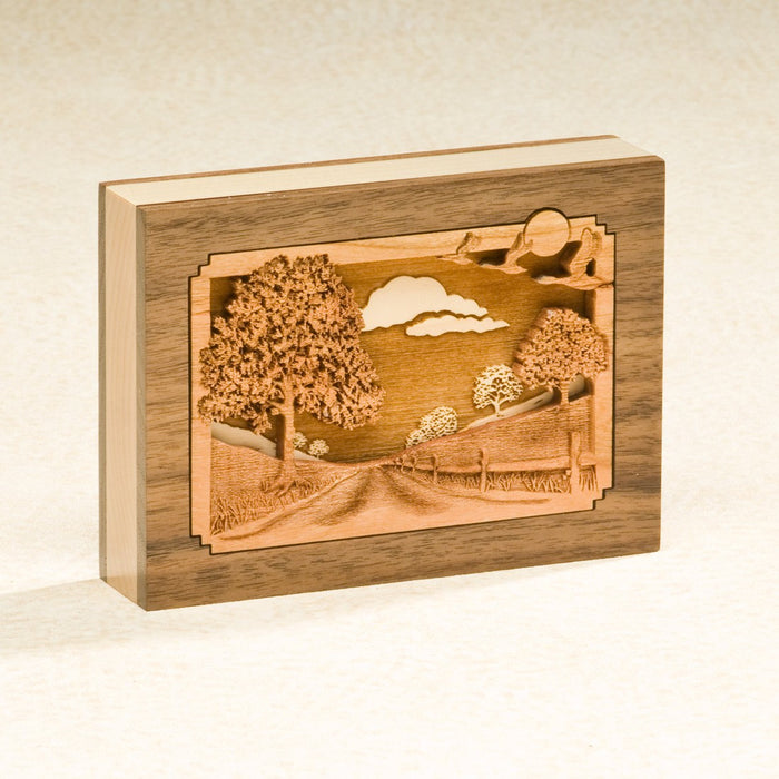 Country Lane Solid Walnut Wood Mini 1 cu in Cremation Urn Keepsake-Cremation Urns-Infinity Urns-Afterlife Essentials