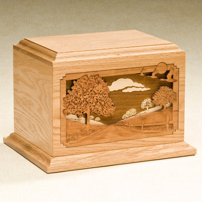 Country Lane Solid Oak Wood 200 cu in Cremation Urn-Cremation Urns-Infinity Urns-Afterlife Essentials