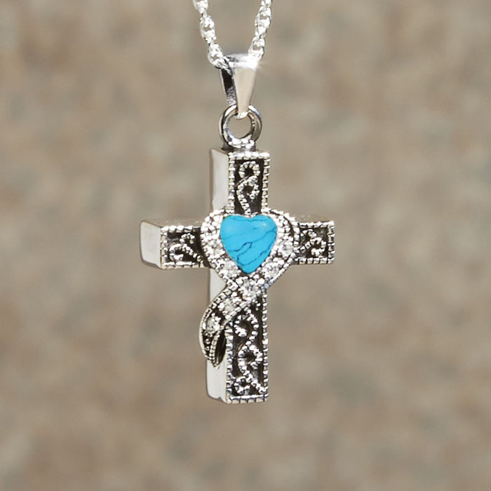 Heart Stone Cross Pendant Cremation Jewelry-Jewelry-Infinity Urns-Afterlife Essentials